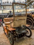 Oldtimer De Dion Bouton L 1902. PRAGUE, CZECH REPUBLIC - MARCH 8 2017: Oldtimer De Dion Bouton L 1902 in the National Technical Museum of Prague, housing Stock Image