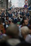 Prague, Czech Republic - March 10th 2018 : crowd of people on the streets stock photography