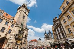 Prague, Czech Republic - March 5th 2011 - Old square in Prague stock photography
