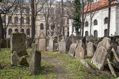 Old Jewish Cemetery, Prague. Prague, Czech Republic - March 17, 2017: Tombstones on the Old Jewish Cemetery in the Jewish quarter Stock Image