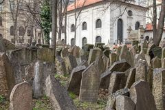 Old Jewish Cemetery, Prague. Prague, Czech Republic - March 17, 2017: Tombstones on the Old Jewish Cemetery in the Jewish quarter Stock Photo