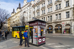 PRAGUE, CZECH REPUBLIC - MARCH 5, 2016: Yellow tourist bus stope Royalty Free Stock Images