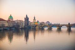 Prague, Czech Republic - Match 25th 2018: Charles Bridge. Prague, Czech Republic - Match 25th 2018: Sunrise over Charles Bridge, by the Vltava River stock image