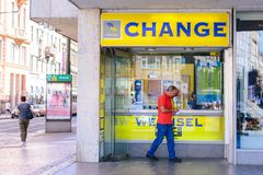 Free PRAGUE, CZECH REPUBLIC - MAY 2017: Travel Currency Exchange Counter Service. Money Exchange Shop In Prague For Visitor And Tourist Stock Image - 122972041