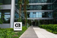 CA Technologies company logo on headquarters building. PRAGUE, CZECH REPUBLIC - MAY 10 2018: CA Technologies company logo on headquarters building on May 10 Stock Image