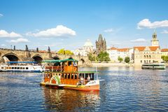 Prague city view and Vltava river boat cruise royalty free stock photography