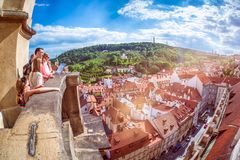 PRAGUE, CZECH REPUBLIC - MAY 25, 2017: Family of Tourists overlo Royalty Free Stock Photo