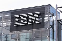 IBM company logo on headquarters building Royalty Free Stock Images