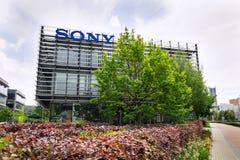Sony company logo on headquarters building. PRAGUE, CZECH REPUBLIC - MAY 10 2018: Sony company logo on headquarters building on May 10, 2018 in Prague, Czech stock photo