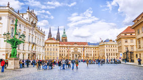 PRAGUE. CZECH REPUBLIC - MAY 17, 2016: Square in front of the Royal Palace in Prague Castle stock photos