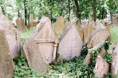 The old Prague Jewish cemetery royalty free stock photo