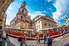 PRAGUE, CZECH REPUBLIC - MAY 25, 2017: Tourists walking at Lesse Stock Image