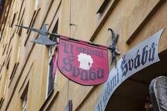 Traditional touristic restaurant U sedmi svabu in Prague historical center. Prague, Czech republic, May 26, 2018: traditional touristic restaurant U sedmi svabu stock photos