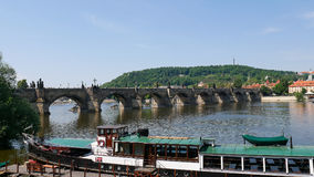 Prague, Czech Republic, May 30, 2017. View of the Charles Bridge from the banks of the Vltava River. royalty free stock photo