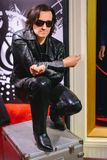 PRAGUE, CZECH REPUBLIC - MAY 2017: wax statue of musician, soloist of the group U2 Bono in a wax statue museum in the Czech Republ. Ic in the capital Prague stock photography