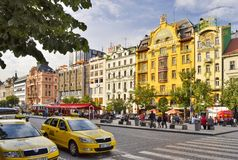 Wenceslas square and hotels in Prague Czech Republic royalty free stock photos