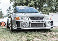 Prague, Czech republic - 16/5/2019 Mitsubishi Lancer Evo. Prague, Czech republic - 16/5/2019Prague, Czech republic - 16/5/2019 Silver Mitsubishi Lancer Evo royalty free stock photos