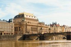 Prague, Czech Republic National Theater view across the Vltava r stock image