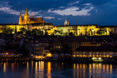 Prague, Czech Republic. Night photo of Charles Bridge, Castle and historical buildings Royalty Free Stock Images