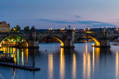 Prague, Czech Republic. Night photo of Charles Bridge, Castle and historical buildings Stock Photos