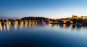 Prague, Czech Republic. Night photo of Charles Bridge, Castle and historical buildings Royalty Free Stock Photos