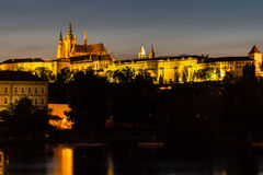 Prague, Czech Republic. Night photo of Charles Bridge, Castle and historical buildings Royalty Free Stock Photography