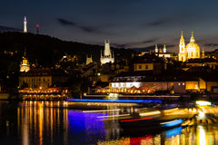 Prague, Czech Republic. Night photo of Charles Bridge, Castle and historical buildings Stock Photography