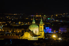 Prague, Czech Republic. Night photo of city and historical buildings Stock Images