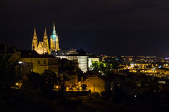 Prague, Czech Republic. Night photo of city and historical buildings Royalty Free Stock Images
