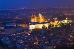 Free Prague, Czech Republic. Night View Of Prague Castle, St. Vitus Cathedral. Lesser Town, Prague Castle In Night Lighting Stock Photography - 109955192