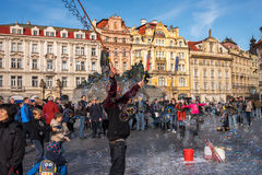 PRAGUE, CZECH REPUBLIC - NOVEMBER 01, 2016: Bubbles, tourist attraction in Prague Old Town Stock Photography