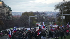 PRAGUE, CZECH REPUBLIC, NOVEMBER 17, 2015: Demonstration against Islam and immigrants, refugees in Prague, the crowd stock video