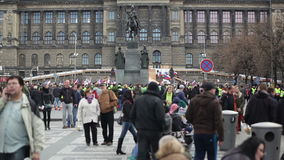 PRAGUE, CZECH REPUBLIC, NOVEMBER 17, 2015: Demonstration against Islam and refugees in Prague, Wenceslas Square with people stock video
