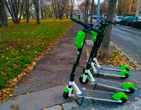 Prague, Czech Republic November 1, 2018 - Electric scooters for rent are in a park in Prague royalty free stock photography
