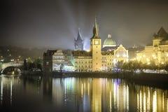 Prague, Czech Republic, Novotny Lavka and Charles Bridge Royalty Free Stock Images