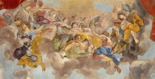 PRAGUE, CZECH REPUBLIC - OCTOBER 12, 2018: The baroque fresco of Angels with the music insturments in church kostel Svateho Tomase royalty free stock images