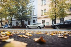 Street of Prague in Autumn Morning, Czech Republic Royalty Free Stock Images