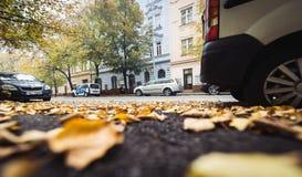 Street of Prague in Autumn Morning, Czech Republic Stock Images