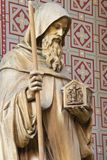 PRAGUE, CZECH REPUBLIC - OCTOBER 17, 2018: The carved statue of Saint Cyril in church Svatého Cyrila Metodeje by Bretislav Kafka. 1891 - 1967 royalty free stock photo