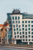 Dancing House - modern building designed by Vlado Milunic and Frank O. Gehry, Prague royalty free stock images