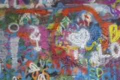 PRAGUE, CZECH REPUBLIC - OCTOBER 12, 2018: Detail of John Lennon Peace Wall created in 1980 royalty free stock photos