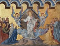 PRAGUE, CZECH REPUBLIC - OCTOBER 17, 2018: The fresco of Ascension of the Lord the in church kostel Svatého Cyrila Metodeje stock image