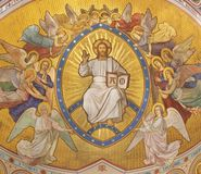 PRAGUE, CZECH REPUBLIC - OCTOBER 17, 2018: The fresco of Christ the Pantokrator among the angels royalty free stock photography