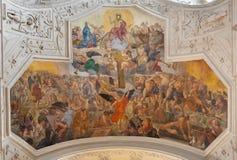 PRAGUE, CZECH REPUBLIC - OCTOBER 18, 2018: The fresco Last Judgment in the church kostel Svatého Ignáce by Jan Umlauf royalty free stock photo