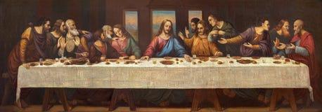 PRAGUE, CZECH REPUBLIC - OCTOBER 13, 2018: The fresco of Last Supper in church kostel Svatého Václava by S. G. Rudl stock photos