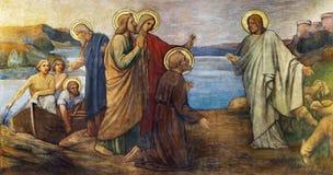 PRAGUE, CZECH REPUBLIC - OCTOBER 13, 2018: The fresco of Miracle fishing Jesus in church kostel Svatého Václava by S. G. Rudl. 1900 stock photos