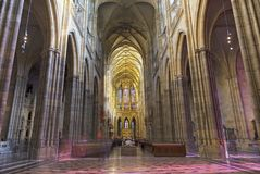 PRAGUE, CZECH REPUBLIC - OCTOBER 14, 2018: The gothic nave of St. Vitus cathedral stock photos