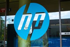 The Hewlett-Packard company logo on headquarters building Stock Photography