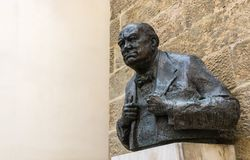 Winston Churchill statue in Prague, Czech Republic Royalty Free Stock Photo