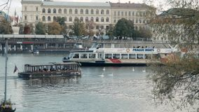 PRAGUE, CZECH REPUBLIC - October 24, 2017, Modern Pleasure Boat Sails Along The Vltava River. 4K stock video footage